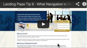 What navigation to include on landing pages